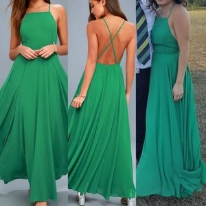 Lulus mythical kind of love green maxi dress
